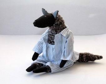 Midnight Wolf, stuffed animal toy for children