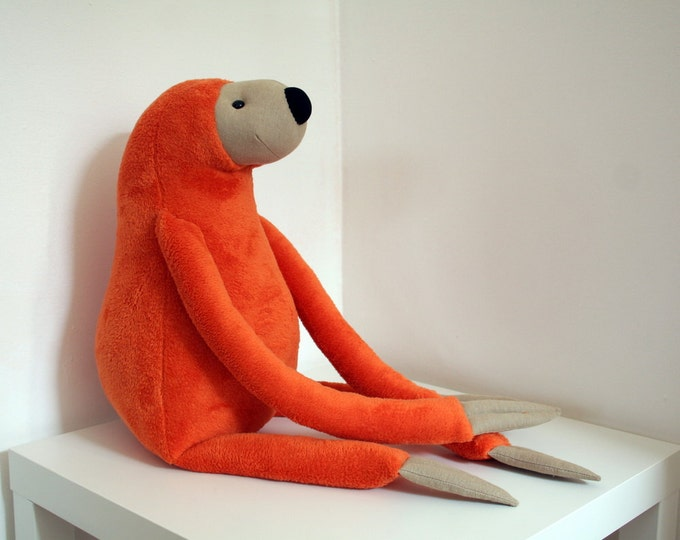 XXL Orange Sloth, stuffed animal toy for children