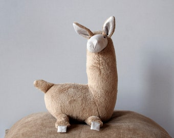 Stuffed Llama, Llama Plush, Probllama?  Cute Soft Baby Toy, Furry Plush Hoofed Animal, South American Alpaca