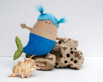 Mermaid Doll Plush, Cute Chubby Mermaid Soft Toy, Little Blue Fish-bodied Female Merfolk