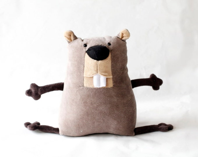 Muma Beaver Plushie #2, Funny Little Aquatic Rodent Stuffie Toy, Funny Pocket Plush Beaver