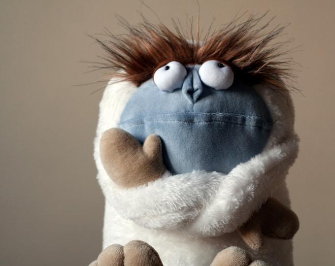 Yeti, Fabulous Bigfoot Plush Monster, Soft Funny Mountain Snowman, White Plush Sasquatch Toy, Adorable Nursery Decor