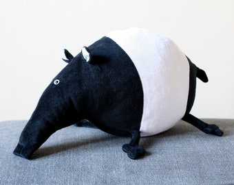 Fat Tapir plush toy, South American Jungle Tapir, Black and White, B&W Tapir Plush Toy, Funny Tapir Stuffie