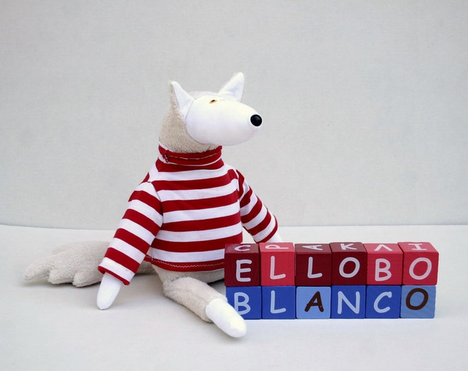 El Lobo Blanco, Arctic Wolf in sweater, stuffed animal toy for children