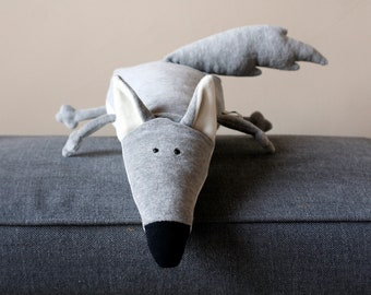 Ponca Wolf, Little Wolfie Plush, Soft Wolf Toy, Funny Plush Grey Wolf