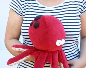 RtS Little Burgundy Baby Octopus Plushie, Ready-to-Ship Baby Kraken, Funny Ocean Creature, Sleeping Fellow with Tentacles