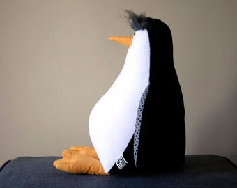 Penguin Stuffed Antarctic Bird, Penguin Stuffie, Plush Cuddly Bird, Black&White Plushie