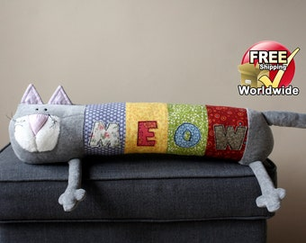New Meow Cat, Personalized Kitty, Long Plush Kitten stuffed animal, plush toy, personalized stuffed animal, Free Shipping Worldwide