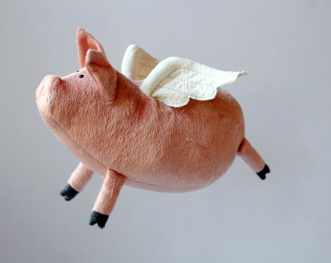Flying Piggy Pink Plush Pig with Little White Wings, Winged Pig Plushie, Funny Soft Pinky Pig Toy