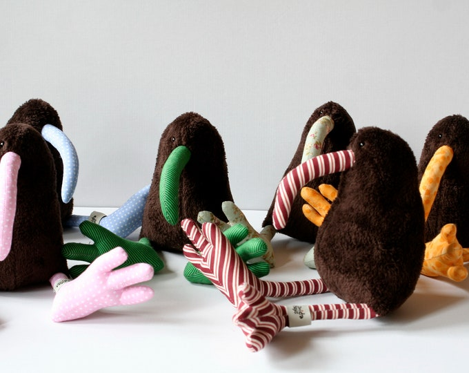 Kiwi Bird Plush Toy Dark Brown body, Soft Plushie, Baby Toy, Sleeping Fellow, Cuddly Bird