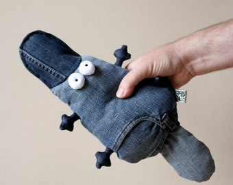 Muma Jeans Platypus Stuffie OOAK #1, One-of-a-Kind Little Pocket Duck Billed Platypus Stuffed Toy, Ready To Ship