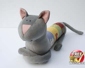 Meow Cat, Personalized Kitty, Long Plush Kitten stuffed animal, plush toy, personalized stuffed animal, Free Shipping Worldwide