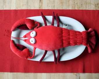 Lobster Plush Toy, Red or Blue Soft Crustacean, Crab Plushie