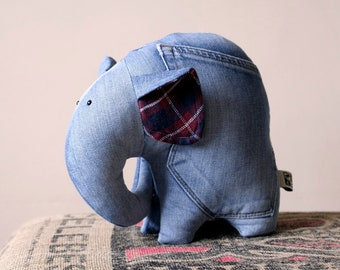 Recycled Jeans Elephant OOAK RTS stuffed toy for kids, stuffed animal elephant, One of a Kind, Ready to Ship