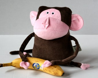 Muma Wise Monkey Plushie, Funny Little Monkey Stuffie Toy, Funny Pocket Plush Ape, stuffed animal, Jungle Stuffie, Brown and Pink Monkey