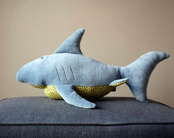 Sharkey, Funny Plush Shark, Blue Fish Plushie, Sleeping fellow for children