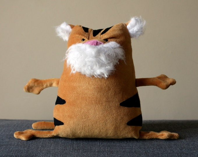 Muma Tiger, Tiger of Sea Admiral Tegetthoff Plushie, Funny Old Grumpy Tiger Pocket Plush