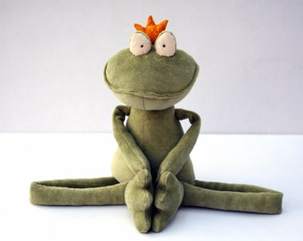 Green Frog Prince stuffed plush toy