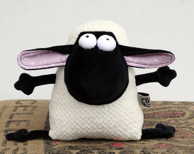 RtS Plush Lamb Pink Ears Muma Ready to Ship, RtS Cuddly Stuffed Plush Sheep, Little Jumbuck Muma, Funny Soft Pop Eye Mutton, Woolly Plushie