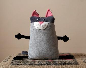 Funny Plush Kitty toy, Stuffed animal toy, Muma Cat Plushie, Little Pocket Kitten Stuffie Toy, Funny Grey Cat Pocket Plush