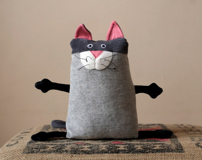 Funny Plush Kitty toy, Stuffed animal toy, Muma Cat Plushie, Little Pocket Kitten Stuffie Toy, Funny Grey Cat Pocket Plush