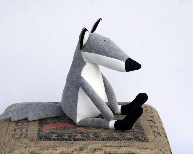 Sitting Grey Wolf, Little Cuddly Plush Wolfie, Stuffed Plushie Wolf Soft Toy