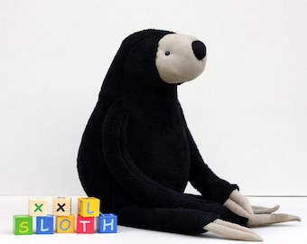 XXL Black Sloth, stuffed animal toy for children