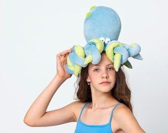 Big Blue Octopus Plushie, Funny Kraken, Blue Ocean Creature, Sleeping Fellow with Tentacles