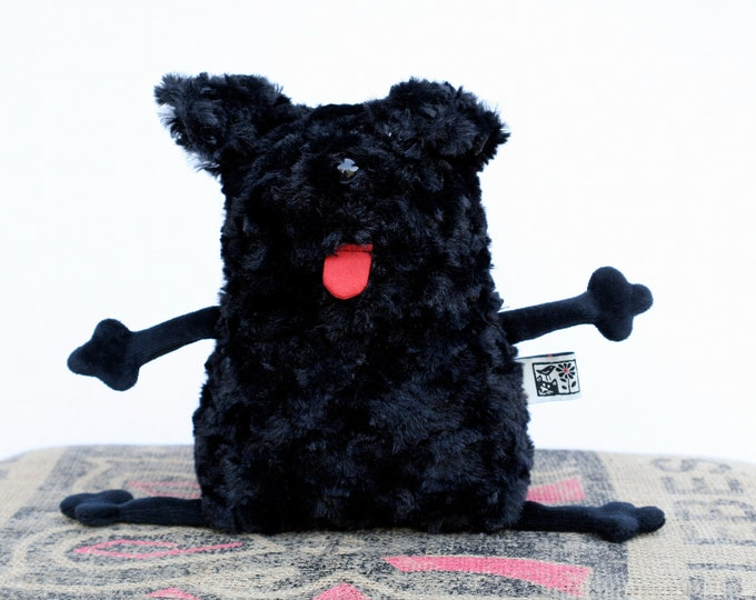 Soft Puli Dog Plushie Muma Stuffed Doggie, Little Puppy, Small Black Cute Furry Dog Pocket Plush
