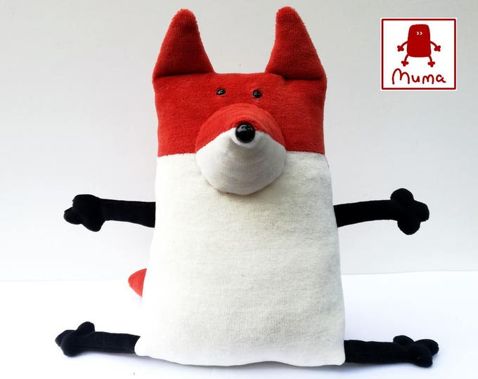 Funny plush toy, Woodland plushie, Stuffed animal toy, Muma Rusty Fox Plushie, Little Pocket Foxy Stuffie Toy, Funny Red Fox Pocket Plush