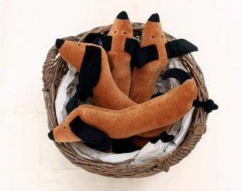 Little Sausage Dog Plushie RtS, Cute Dachshund Stuffie, Brown Wiener Doggie Plush, Soft Doxie Stuffed Toy, Ready to Ship