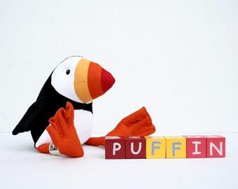 RtS Puffin Plush Birdie Ready to Ship, Cuddly Puffin Soft Toy