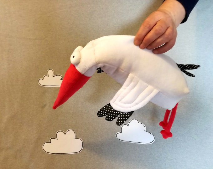 Ponca Stork, White Bird Plush, Soft Stork Toy, Funny Plush White Stork