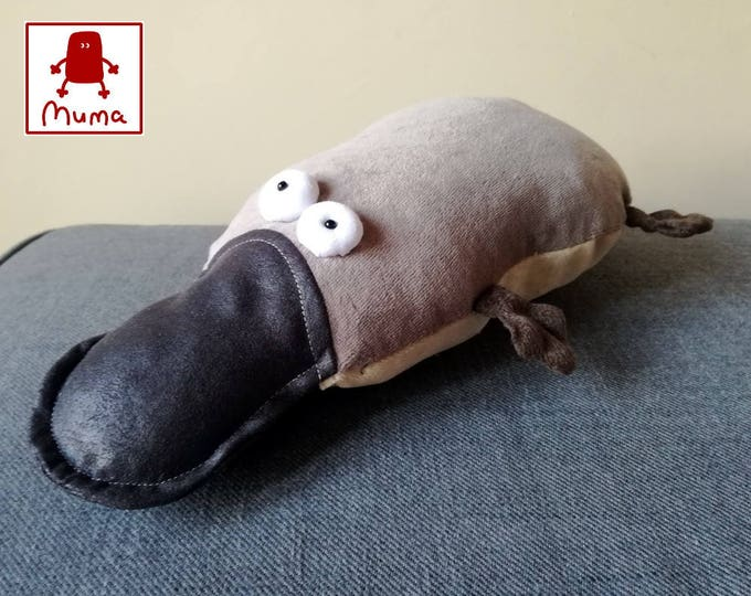 Muma Lying Platypus Plushie, Little Pocket Duck Billed Platypus Stuffie Toy, Funny Australian Pocket Plush