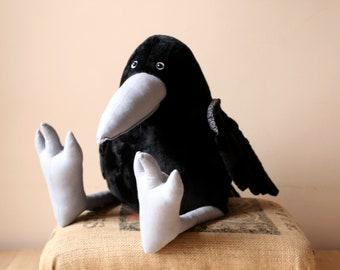 Big Black Crow Plush Bird, Huge Raven Plush Pillow, Grey Beak