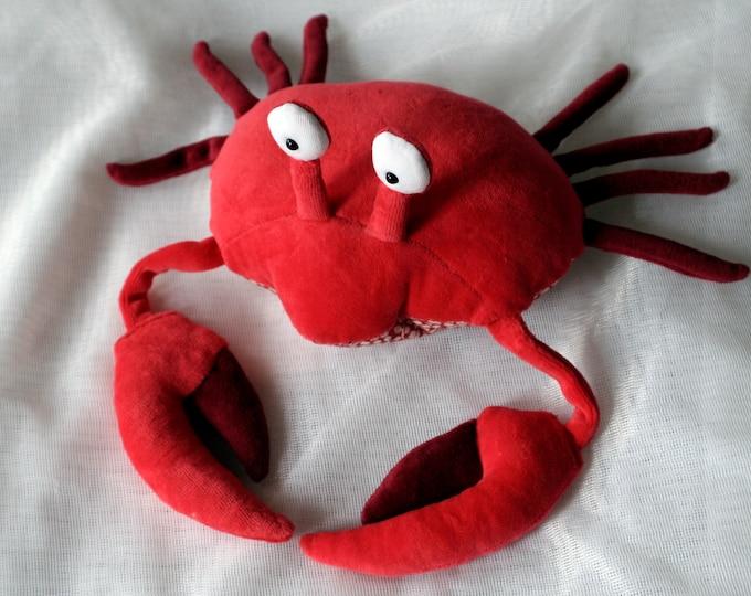 Red Crab Plush Toy, Soft Crustacean, Spider Crab Plushie