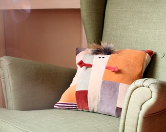 Funny plush patchwork pillow, Ready to Ship, One of a Kind, Pillow for Nursery, Huggable Cushion for Kids