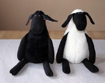 Stuffed Plush Sheep All Black or Black and White, Cuddly Soft Lamb, Plush Toy