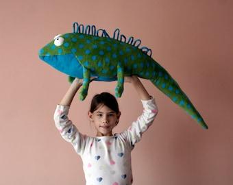 Huge Iguana Pillow, Lizard Pillow Toy, Soft Wellsoft Agama, Happy Colorful Iggy Nursery Decor