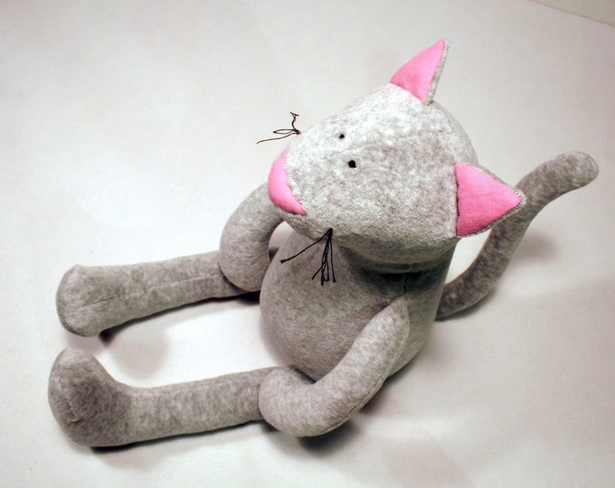 Pinky the Grey Plush Kitty, Stuffed Plush Cat, Soft Toy for Babies