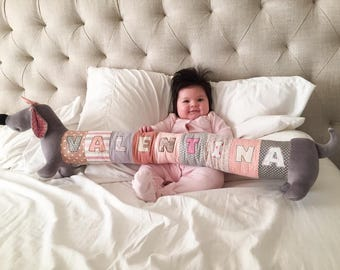 Personalized Dachshund Puppy, Long Plush Dog stuffed animal, plush toy, personalized stuffed animal, nursery decor