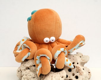 RtS Big Octopus Plushie, Funny Kraken, Ocean Creature, Sleeping Fellow with Tentacles, Ready to Ship Cephalopod