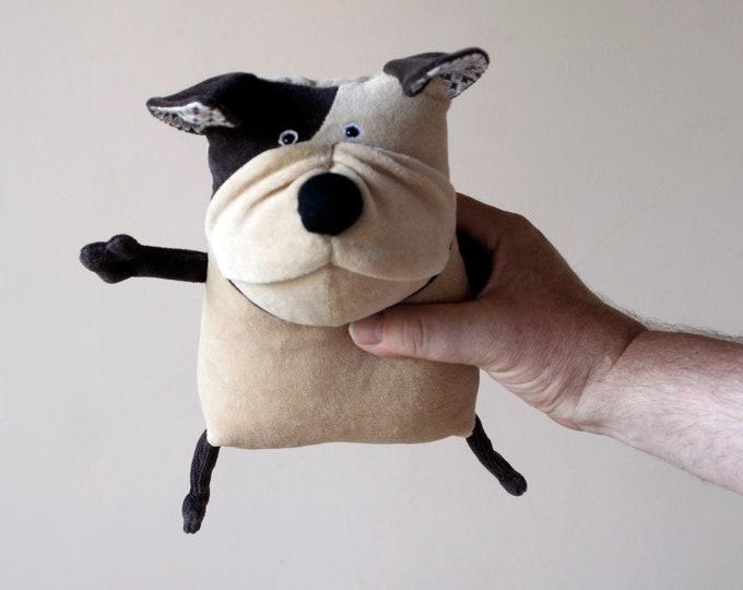 Soft Bulldog Plushie Muma Stuffed Doggie, Little Puppy, Small Brown Cute Dog Pocket Plush