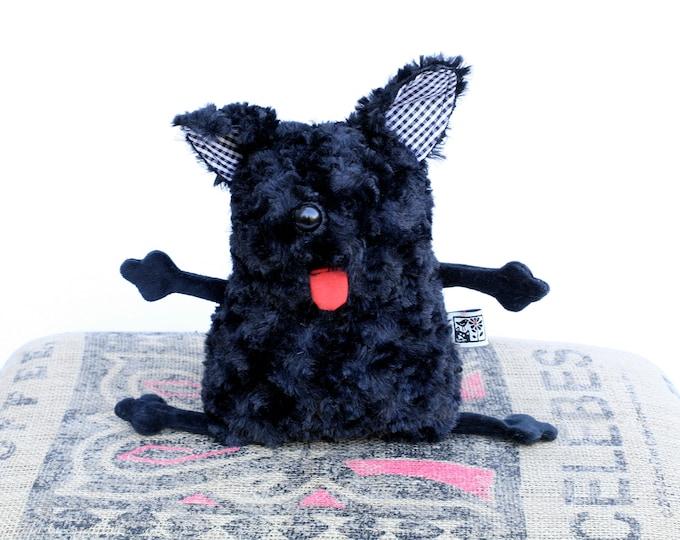 RtS Soft Puli Dog Plushie Muma Stuffed Doggie, Little Puppy Ready to Ship, Small Black Cute Furry Dog Pocket Plush
