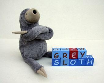 Small Plush Grey Sloth, stuffed animal toy for children, cuddly jungle stuffie, sleeping fellow