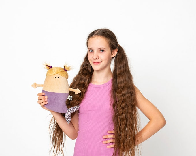 Mermaid Doll Plush, OOAK, RTS Cute Chubby Mermaid Soft Toy, Little Lilac Fish-bodied Female Merfolk