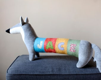 Personalized Gift Husky, Free Shipping Worldwide, Grey Wolf Toy, baby shower gift, kids room decor doggie, plush dog toy