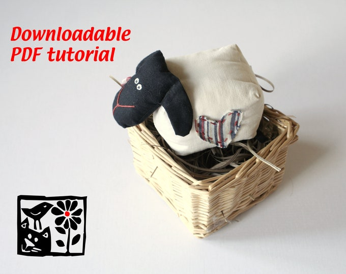 Sewing Pattern The Famous CubeSheep by Andrea Vida, Downloadable PDF, DIY Soft toy making guide, stuffed animal tutorial, toy pattern