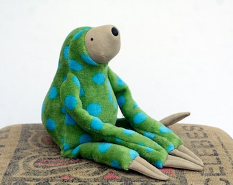 Plush Sloth Turquoise Spotty Soft Toy, Ready to Ship, stuffed animal toy for children, Limited Edition Special Sloth Plush