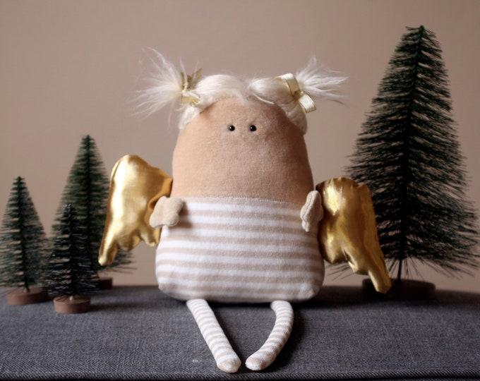 Christmas Angel Muma, Cute Little Xmas Angel Plush, Nursery Decor Plushie for Winter Hollidays